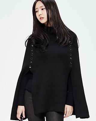 M / button Knit cape