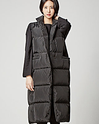 One Button Long Padded Vest