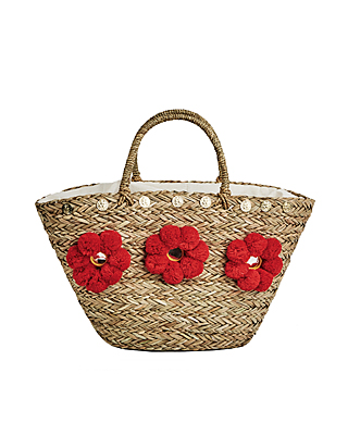 Straw Red Pom BAG