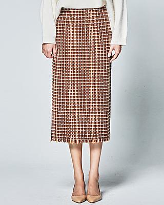 (1FSK033) Tweed Banding Skirt