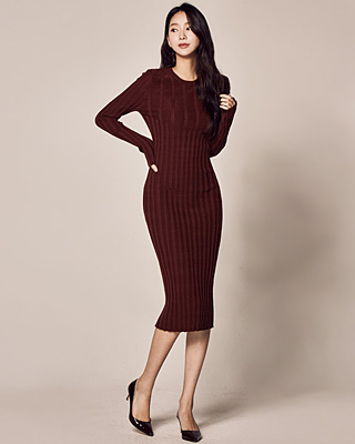(1FOP051) Helen Corrugated Knit One Piece