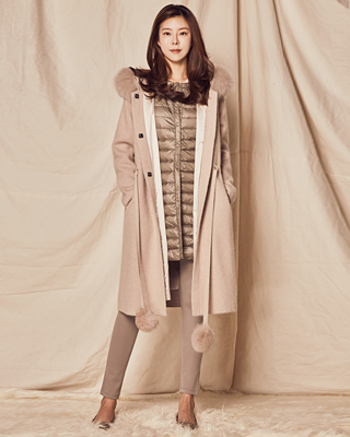 (1FCT018) Fox droplets Knit Coat