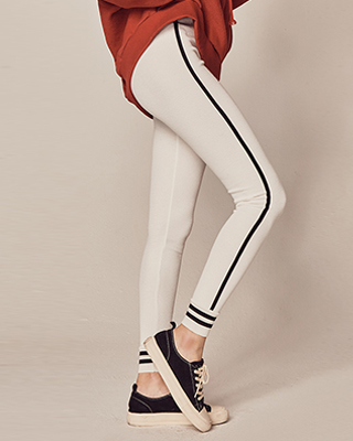 (1FPT079) color combination napping Banding Pants