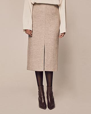 (1FSK076) Herringbone Slit Skirt