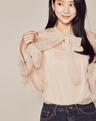 (1FBL038) Lily See-through look bowknot Blouse