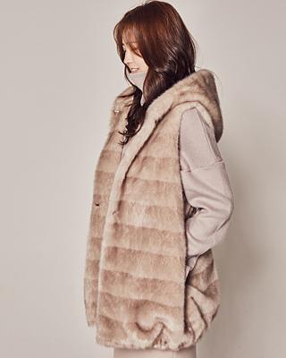(1FVT021) Eco Mink Hood Vest