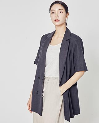 (2SJK038) Herringbone Linen Short-sleeve Jacket