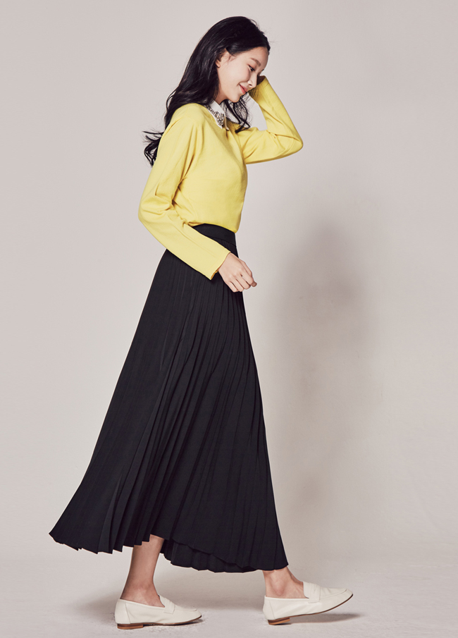 (2SSK017) Hackney Banding Pleats Long Skirt