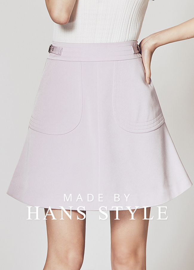(HS2SSK005) Waist Buckle Decoration Skirt