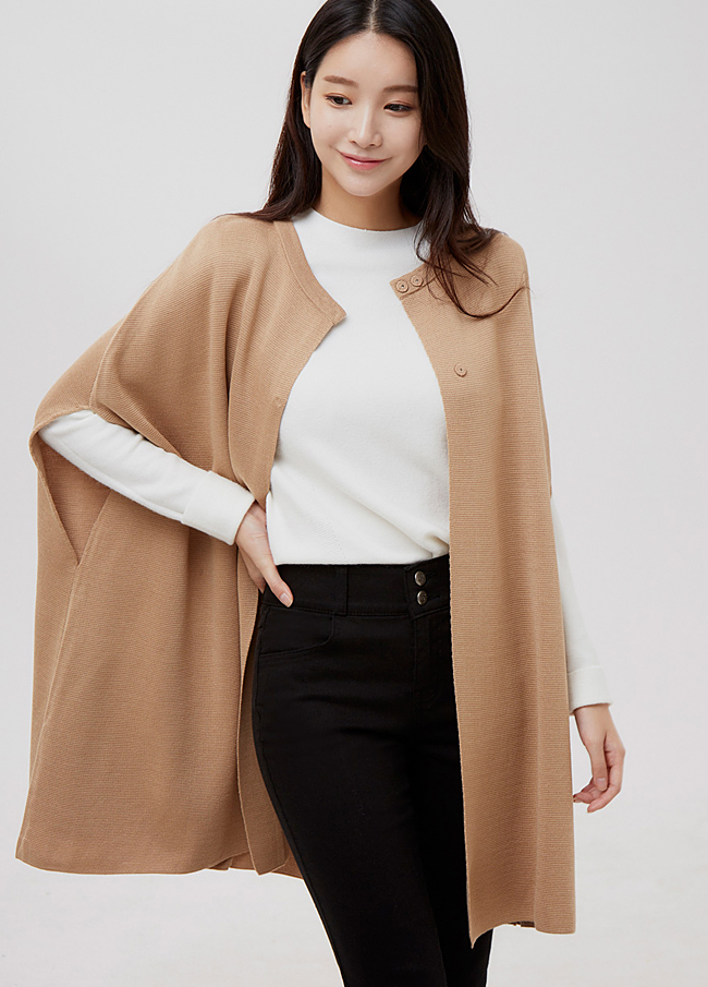 (2FCD017) Wool Knit cape