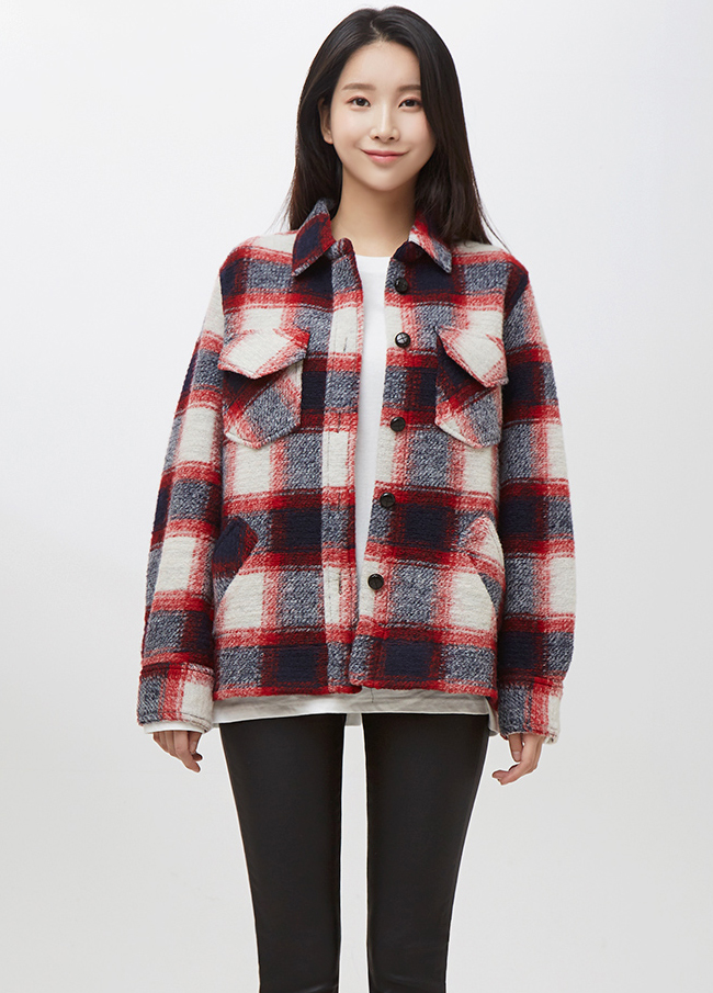 (2FBL024) Wool Check Short Shirt Jacket