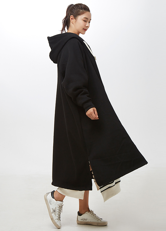 (2FJP011) napping slit Long Hood Zip up