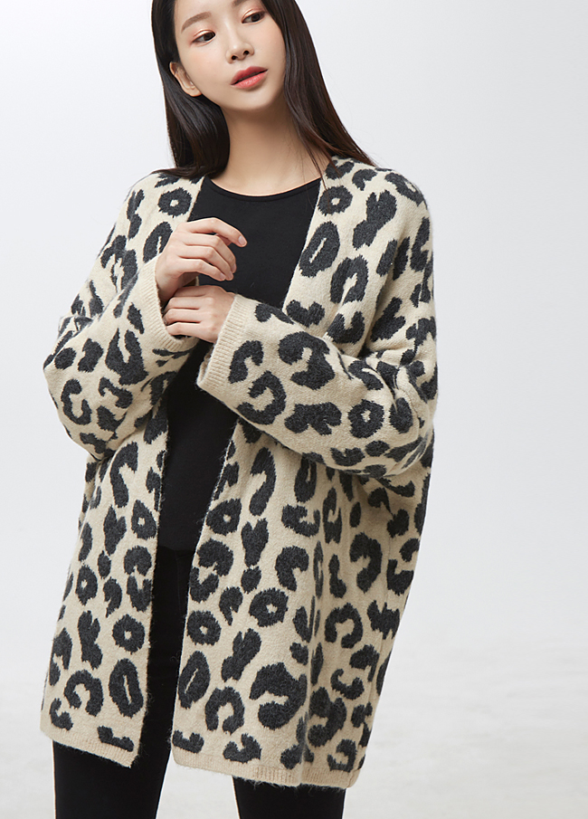 (2FCD025) Leopard Soft Open Cardigan