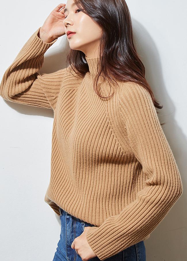 (2FNT088) Corrugated Turtleneck Knit