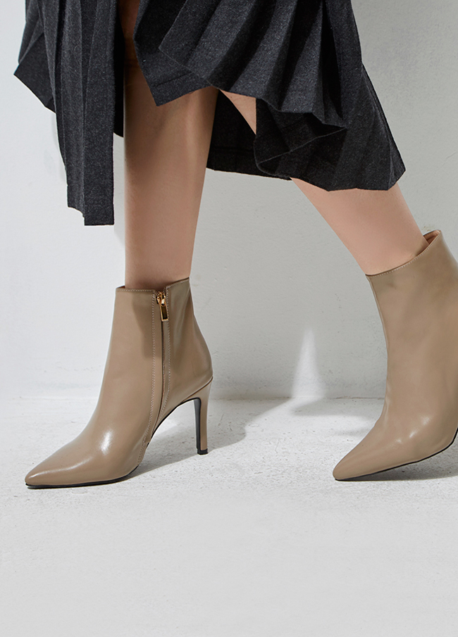 (2FSH053) Leather Slim Ankle Boots