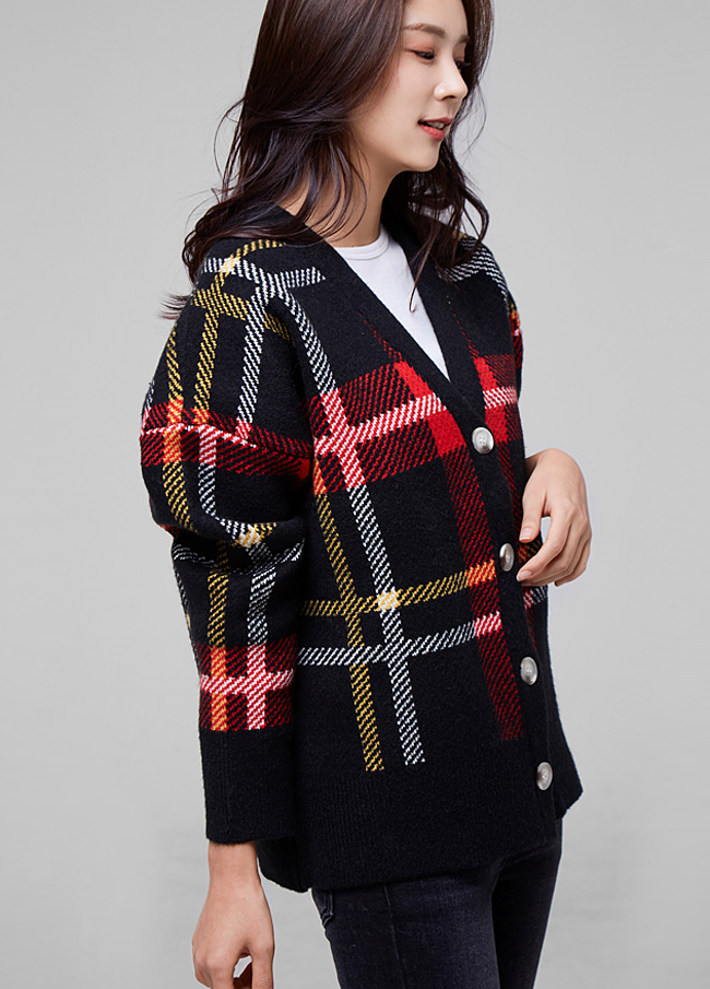 (2FCD034) Wool Check Cardigan