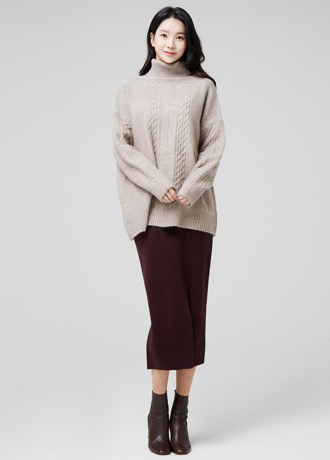 (2FNT148) Wool Soft Highneck Twiddle Knit
