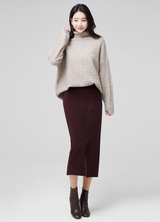 (2FSK101) Knit Cutting Slit Midi Skirt