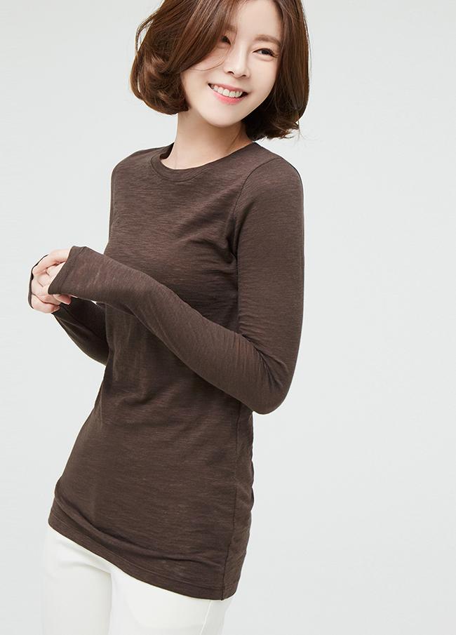 (3STT002) Slab Cotton Raund neck T-shirt