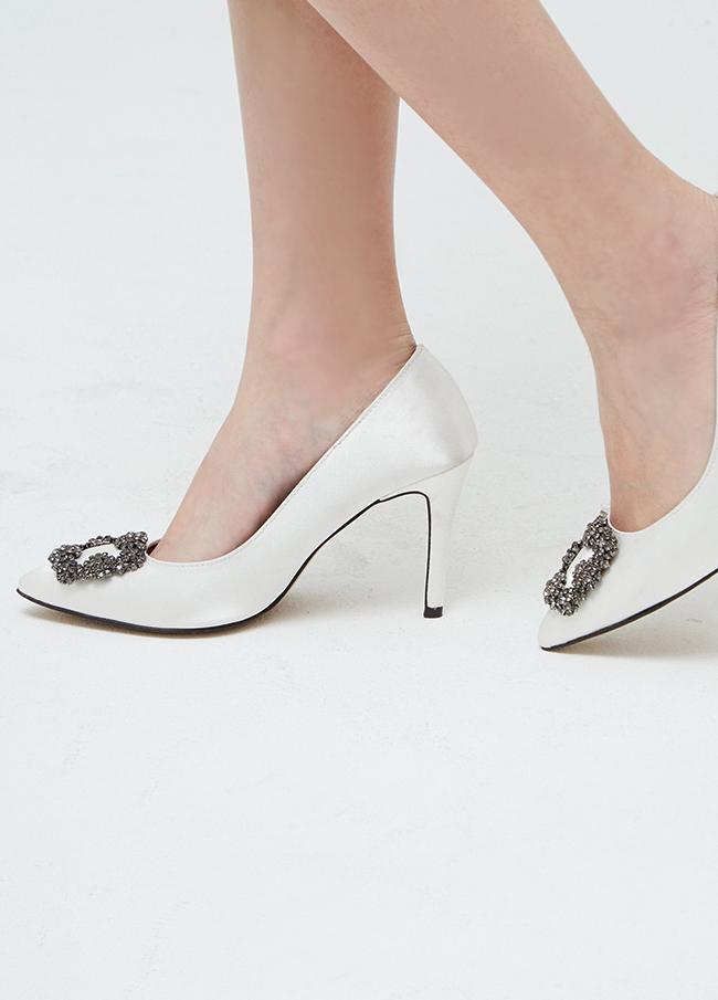 (2FSH080) cubic Satin Stiletto heel
