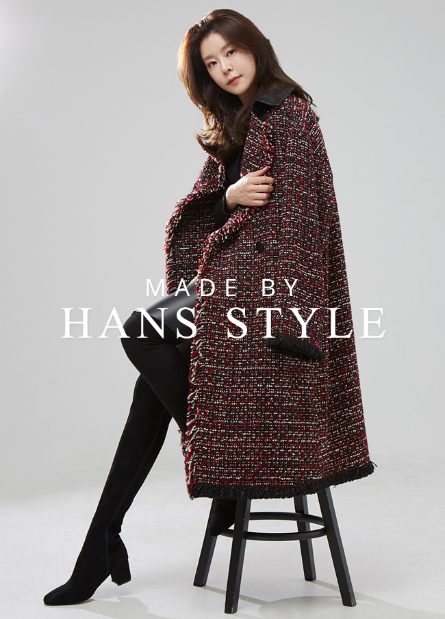 (HS2FCT013) Leather Black Tweed Coat