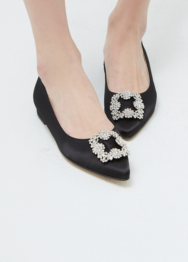 (3SSH001) Stiletto Satin cubic Flat Shoes