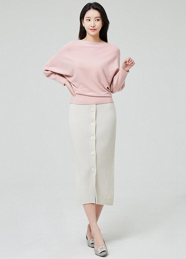 (3SSK012) Wool Banding Knit Button Skirt