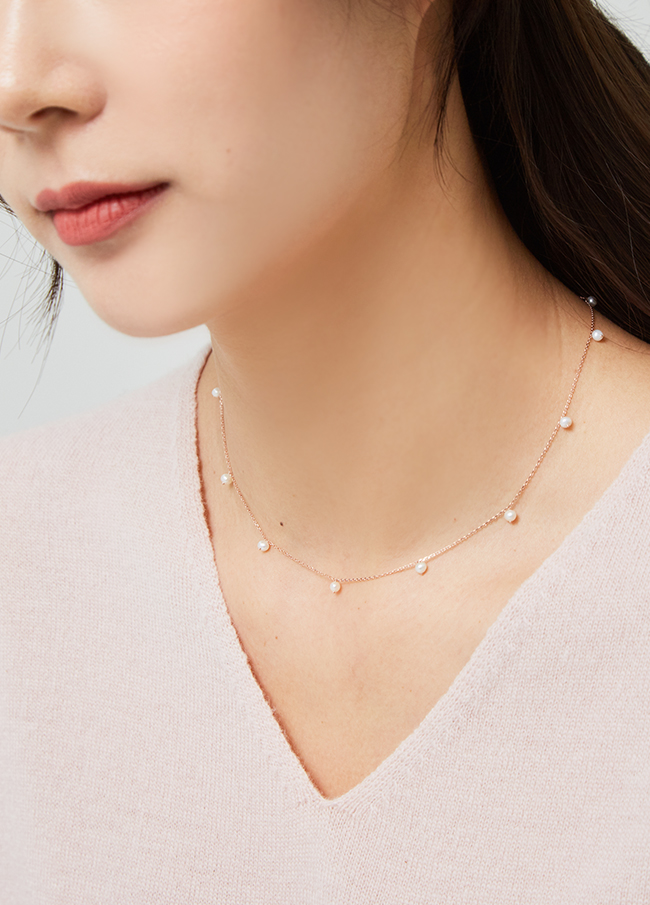 (3SNC001) simple fresh water pearl necklace