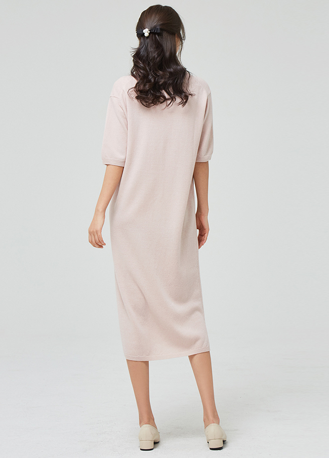 (3SOP013) Wool V-neck Long One Piece