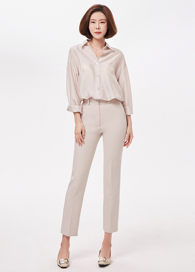(3SPT022) Slim Straight Slacks