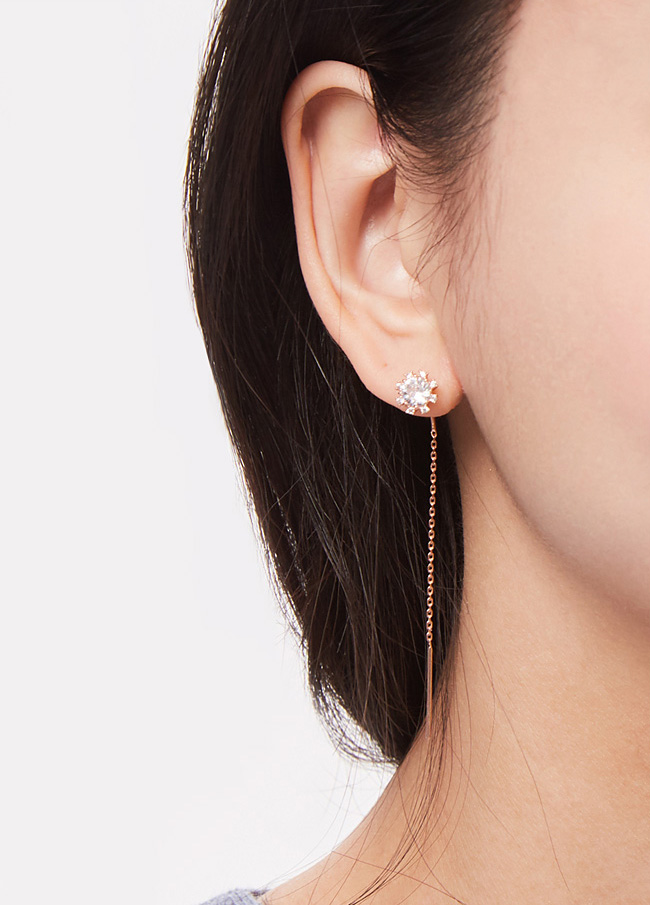 (3SER005) Flower cubic Long earring