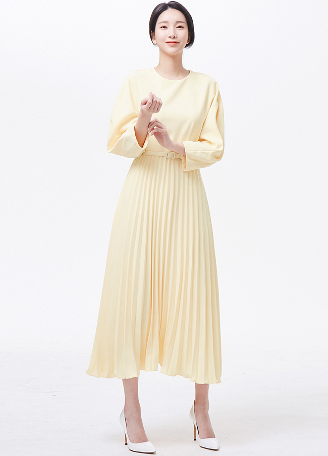 (3SOP031) Pleats Belt Wrinkles One Piece