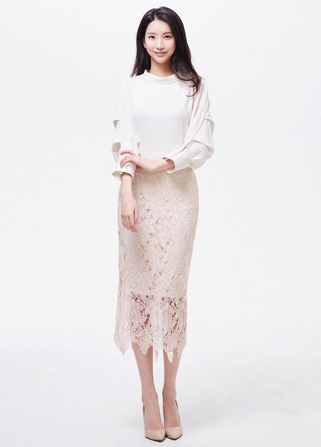 (3SSK027) Spring lace Long Skirt