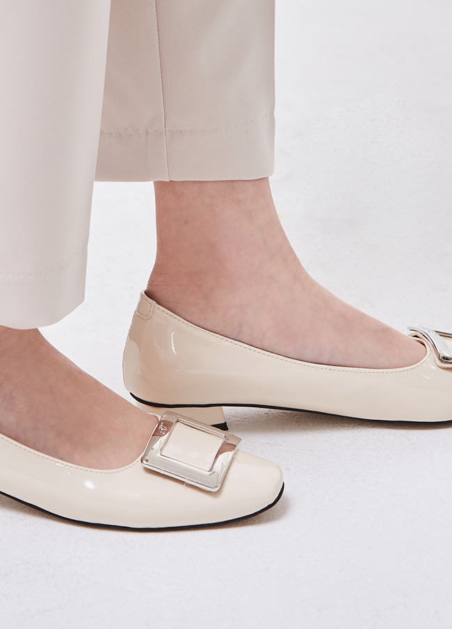 (3SSH017) 6091 Square Flat Shoes