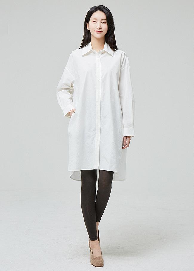 (3SBL005) overfit Un-Cotton Long Shirt