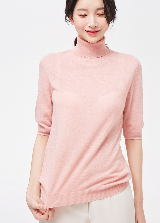 (3SNT051) Half Neck Short-sleeve Wool Knit
