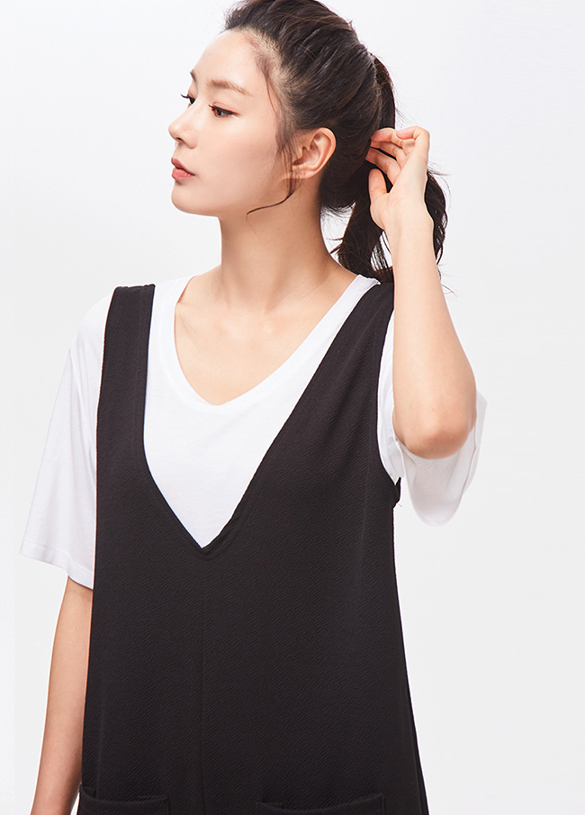 (3STT073) loose fit U neck T-shirt