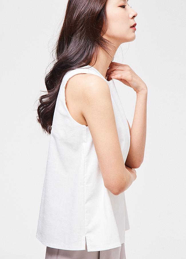 (3SBL077) Cotton Sleeveless Blouse