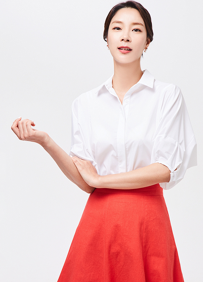 (3SBL093) Balloon Sleeve Button Blouse
