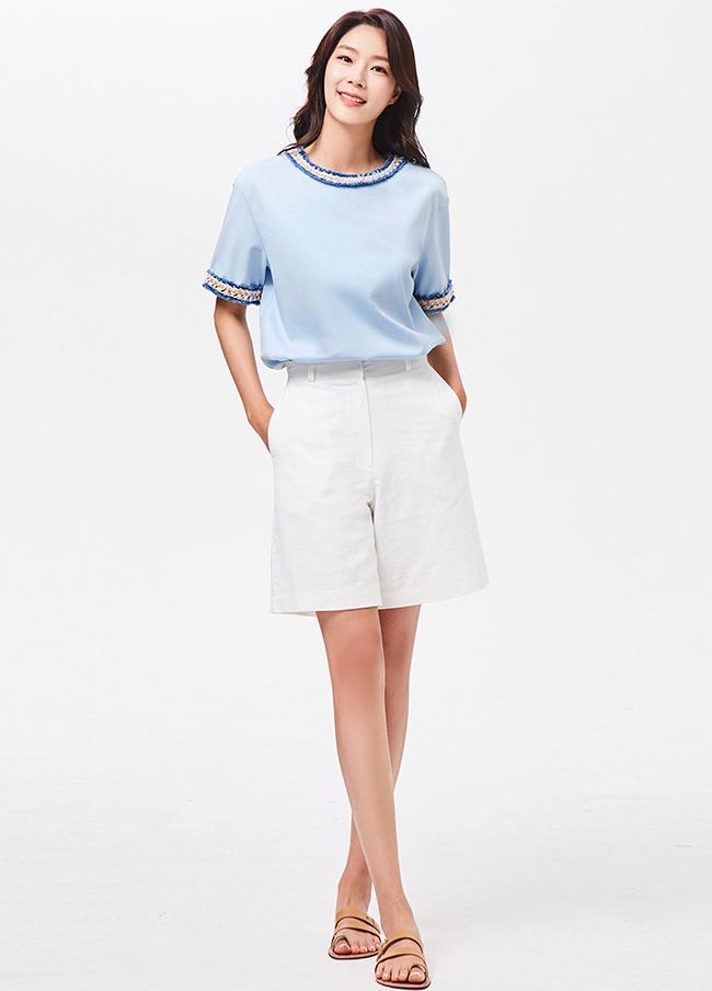 (3SPT174) simple Linen 5 Pants