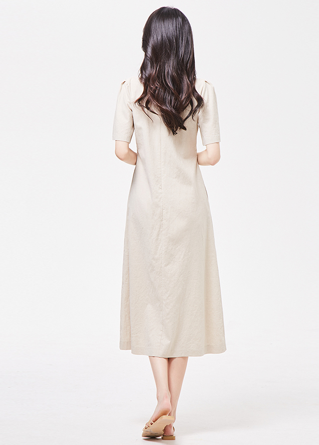 (3SOP209) button key point Linen Long One Piece