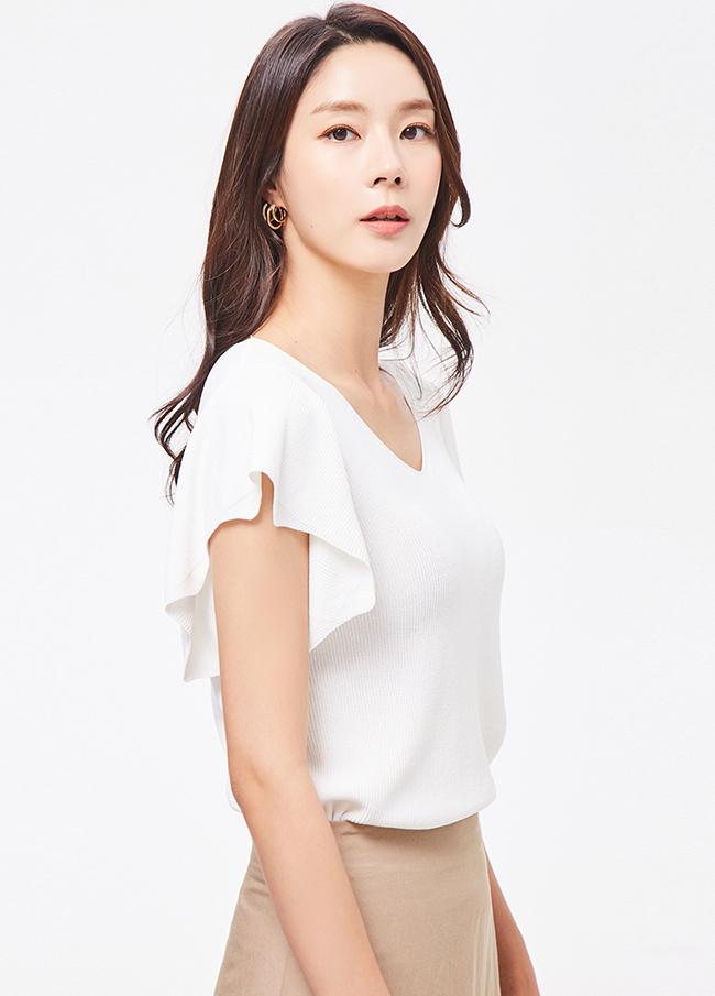 (3STT170) Ruffle sleeve T-shirt
