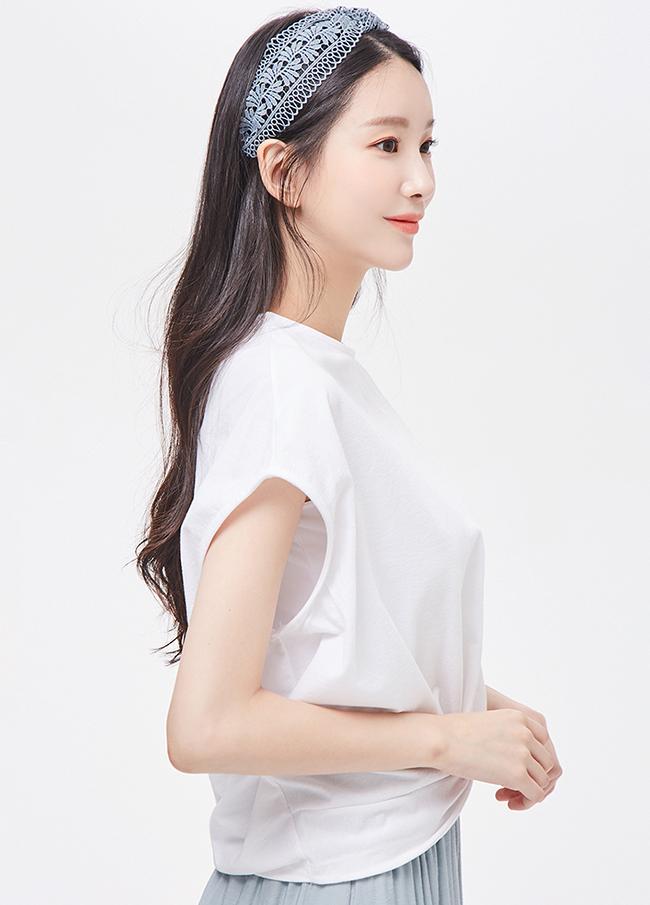 (3STT174) twist cap sleeve T-shirt