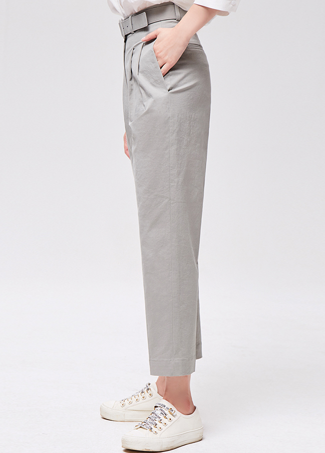 (3FPT001) Cotton Pin Tuck Key Point Pants