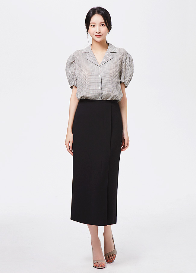(3FSK003) Hline Incision high waist Skirt