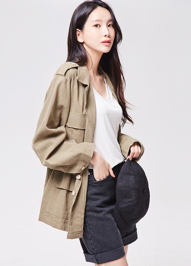 (3FJK002) cotton Linen string Jacket