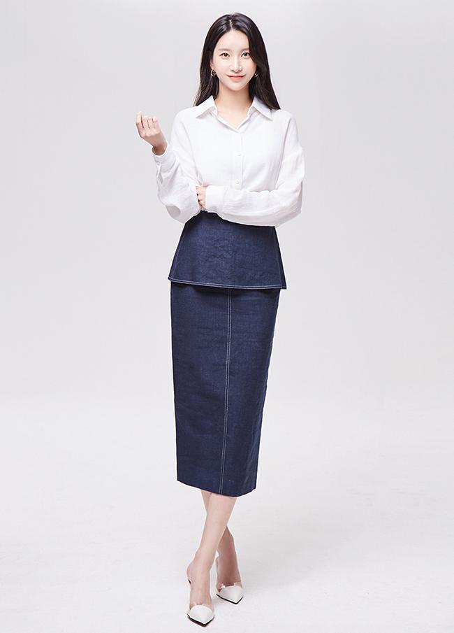 (3FSK005) Linen stitch Hline Skirt