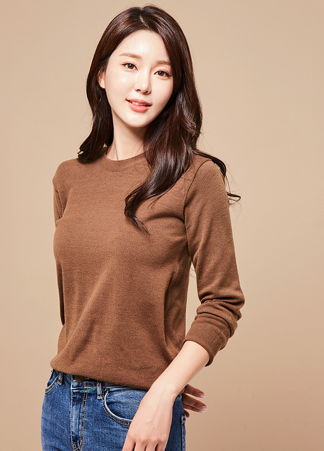 (3FNT002) Basic Raund neck Knit