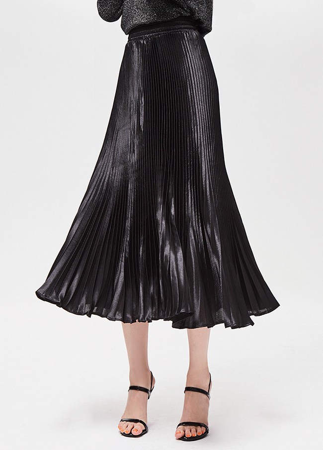 (3FSK002) Shine Pleats Banding Skirt