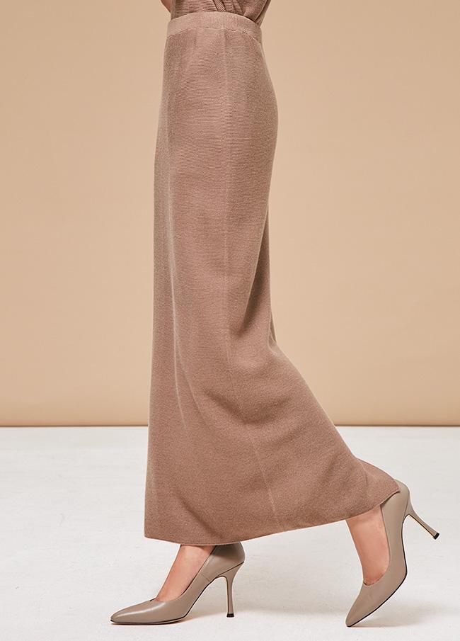 (3FSK027) Whole Garment Trim Wool Skirt